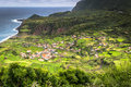 Azores coastline landscape in Faja Grande, Flores island. Portug Royalty Free Stock Photo