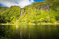 Azores landscape in flores island waterfalls in pozo da alagoin alagoinha portugal Royalty Free Stock Image