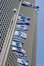 Azrieli center tel aviv with flags Stock Photo