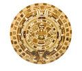 Aztec Calendar Depiction on a Wooden Panel Stock Photos