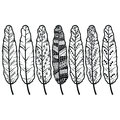 Aztec culture tribal feathers in native American ornaments style in black and white