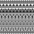 Aztec Ethnic Seamless Pattern. Triangle Shape Tribal Illustration Vector. Merry Christmas Motif Design in Black And White Color.