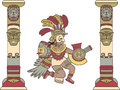 Aztec god between columns colored illustration Royalty Free Stock Images