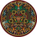 Aztec mandala colorful art based on the calendar Royalty Free Stock Photo