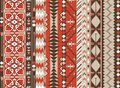 Aztec seamless pattern on hot color with arrow Royalty Free Stock Photo