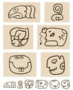 Aztec style comic icon set Stock Photos
