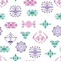 Aztec Style Ornament Seamless Pattern Background . Vector Royalty Free Stock Photo
