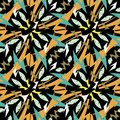 Aztec style tribal ethnic geometric vector seamless pattern. Ornamental zigzag design on black background. Repeat patterned