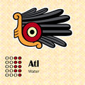 Aztec symbol atl calendar symbols or water Royalty Free Stock Images
