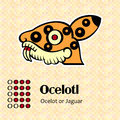 Aztec symbol ocelotl calendar symbols or jaguar Stock Photo
