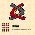 Aztec symbol ollin calendar symbols or movement Stock Photos