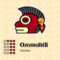 Aztec symbol ozomahtli calendar symbols or monkey Stock Photo