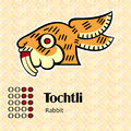 Aztec symbol tochtli calendar symbols or rabbit Stock Images