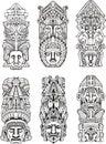 Aztec totem poles Royalty Free Stock Photo