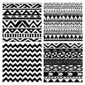 Aztec Tribal Seamless Black and White Pattern Set Royalty Free Stock Photo