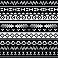 Aztec tribal seamless black and white pattern vector ornament ethnic background in Stock Photography
