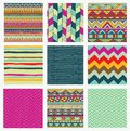 Aztec Tribal Seamless Colorful Pattern Set Royalty Free Stock Photo