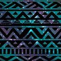 Aztec Tribal Seamless Pattern on Cosmic Background Royalty Free Stock Photo