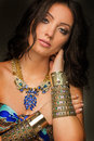 Aztec women wearing gold jewellery Royalty Free Stock Photo
