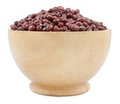 Azuki beans red beans   on wood cup isolated Royalty Free Stock Photo