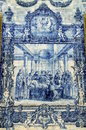 Azulejo depicting perishing francis assisi Stock Images