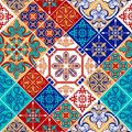 Azulejo pattern patchwork, traditional tile ornament