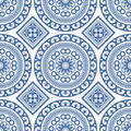 Azulejo Seamless Portuguese Tile Blue Pattern. Vector Royalty Free Stock Photo