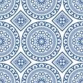 Azulejo Seamless Portuguese Tile Blue Pattern. Vector