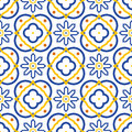Azulejos blue and white mediterranean seamless tile pattern.