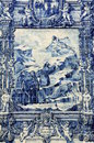 Azulejos on capela das almas in porto portugal azulejo depicting francis of assisi causing a spring of water to flow from a rock Royalty Free Stock Images