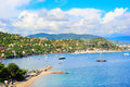 Azure coast panoramic sea bay view yachts and boats french riviera or cote d azur provence france Stock Photos