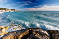 Azure Sea and Beuatiful Beach in Nice Stock Photo