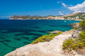 Azure sea at the south coast of mallorca in bay paguera photographed during sunny day in august Stock Image