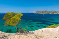 Azure sea at the south coast of mallorca in bay paguera photographed during sunny day in august Stock Images