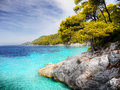 Azure sea water coast rocky and Royalty Free Stock Images