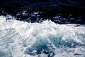 Azure and white boat wake seafoam