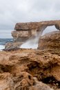 Azure window famous stone arch on gozo island malta Royalty Free Stock Photography
