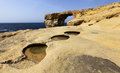 Azure window on the gozo island malta Royalty Free Stock Images