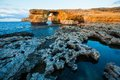 Azure window gozo malta natural arch on island with rock formations in foreground Royalty Free Stock Photo