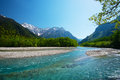 Azusagawa River and Peaks of the Hotakas Stock Photo