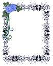 Błękit rabatowe zaproszenia ornamental róże Obraz Royalty Free