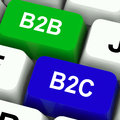 B2B And B2C Keys Mean Business Partnerships Royalty Free Stock Photo