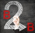 B b hands writing business to business on transparent screen Royalty Free Stock Image