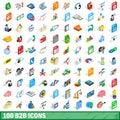 100 b2b icons set, isometric 3d style