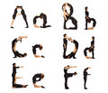A, B, C, D, E and F abc letters formed by humans Stock Images