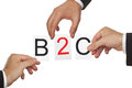 B c hands putting the letters for business to customer together Royalty Free Stock Image