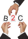 B c hands putting the letters for business to customer together Royalty Free Stock Photos