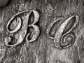 B C Wooden Sign B&W Royalty Free Stock Photo