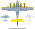 B flying fortress vector illustration of old military airplane Stock Photos