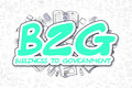 B2G - Doodle Green Word. Business Concept.